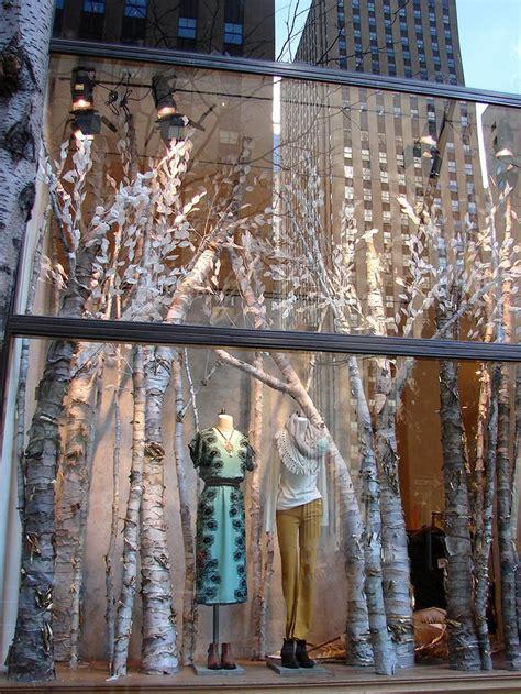 anthropologie window birch tree forest display