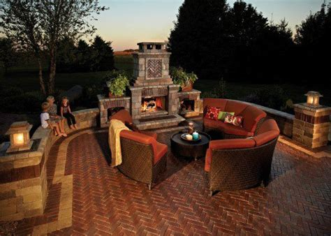 outdoor fireplace with copthorne paver photos
