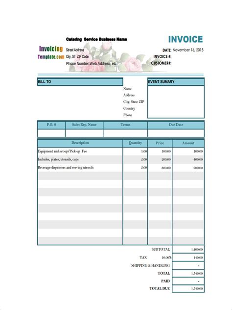 catering invoice form sample  sample