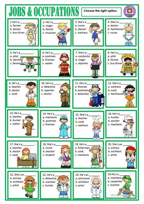 jobs worksheet  esl printable worksheets