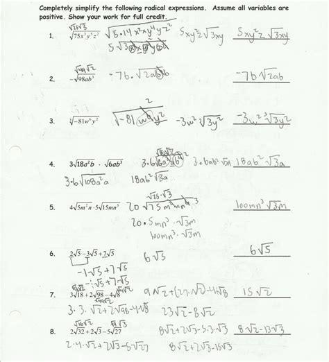simplifying radicals worksheet algebra  answer key