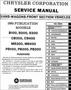 1980 Dodge  U0026 Plymouth Van Repair Shop Manual Original Sportsman  Voyager