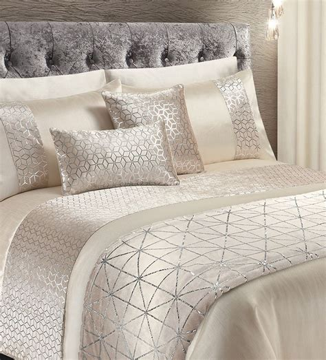 cream silver shimmer stylish glitzy duvet cover luxury