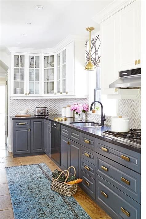 white kitchen cabinets with lower cabinets white cabinets and gray lower cabinets with brass