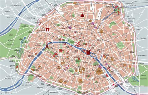 large detailed tourist attractions map  paris city