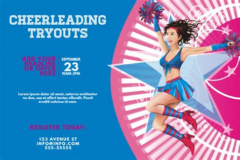 copy  cheerleading tryouts event flyer template