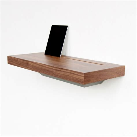 floating wall shelf wood store away iphone and cables stage charging