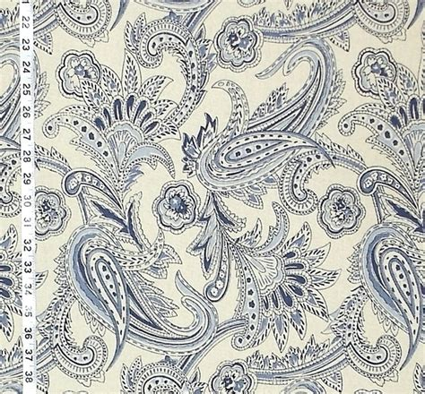 Blue Paisley Upholstery Fabric by Blue Paisley Fabrics Blue Indienne Fabrics New 15