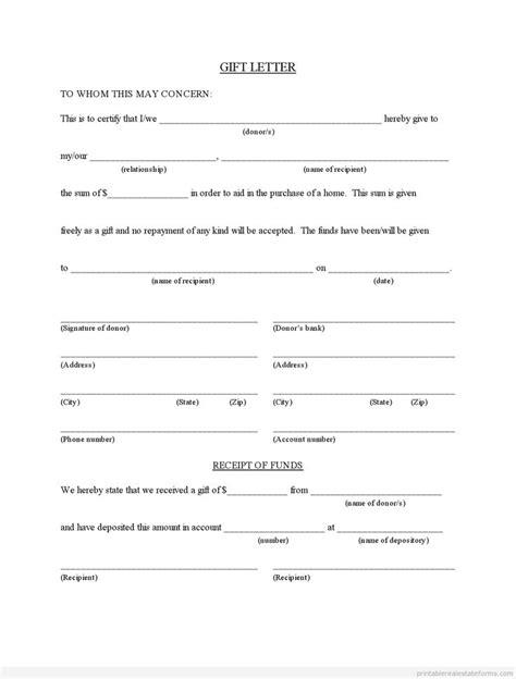 gift letter form sle printable gift letter for buyer from family member 6882