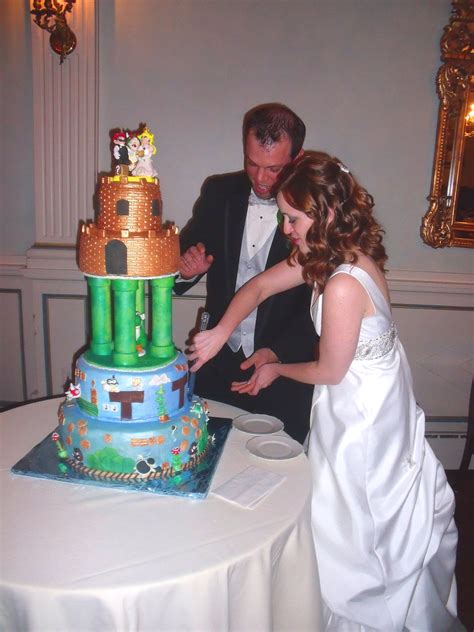 Mario Video Game Theme Wedding Cake With Bride And Groom