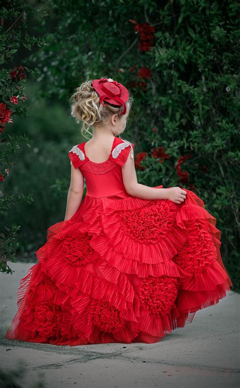 ball gown jewel red kids girls dress ch promcouk