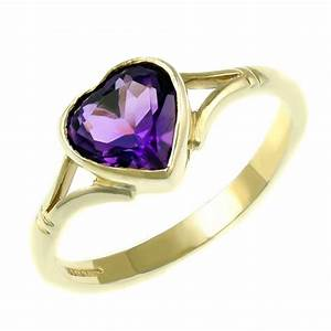 9ct yellow gold 8x8mm heart rubover amethyst ring ...