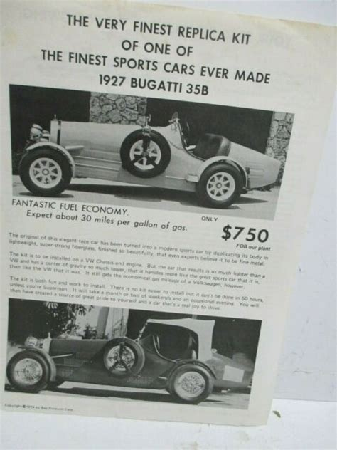 Only 400 of these cars were made in 1971. 1927 BUGATTI 35B REPLICA KIT Sales Brochure ----FREE ...