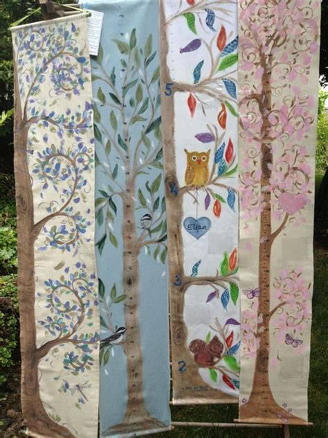 growth chart tree hand painted fabric banner personalized