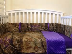 realtree camo and purple minky 3 pc crib by lizsstitchesdotcom