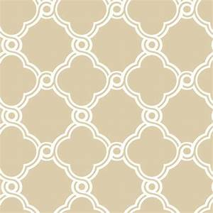 White with Beige Open Trellis Wallpaper