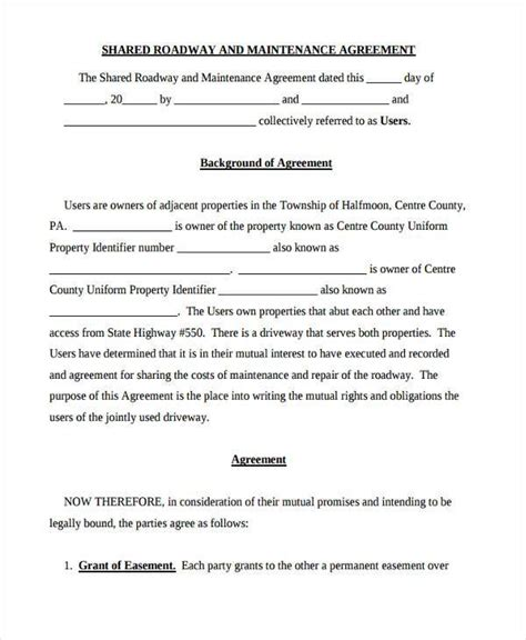 road maintenance agreement forms