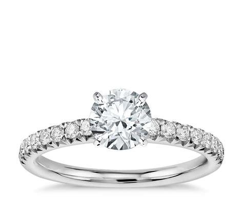 pav 233 engagement ring in platinum 1 4 ct tw blue nile