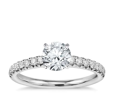 French Pavé Diamond Engagement Ring In Platinum (14 Ct