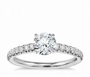 french pave diamond engagement ring in platinum 1 4 ct With solitaire engagement ring with pave wedding band