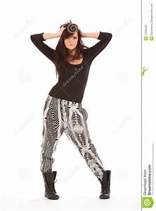 Urban Fashion Model In Black And White Outfit Stock Photo ...