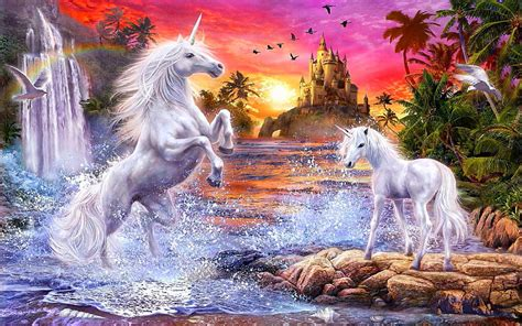 fantasy unicorns castle sunset river falls palm flowers