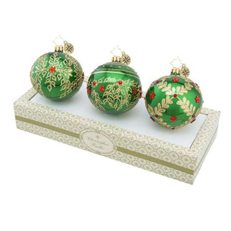 boxed glass ornaments christmas green set of 3 by