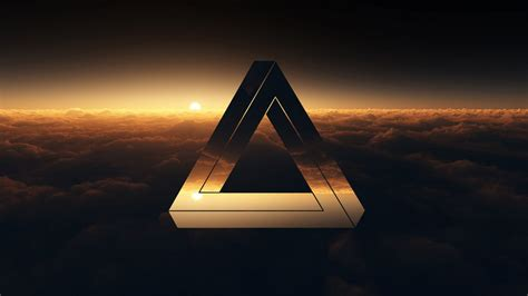 Abstract Black Triangle Wallpaper by Triangle Penrose Clouds Sunset Hd Wallpaper