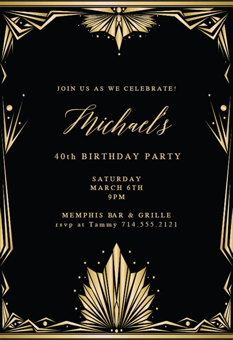 art deco frame birthday invitation template