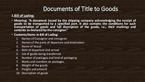 Advance against documents of title to goods chapter 3 for Documents of title to