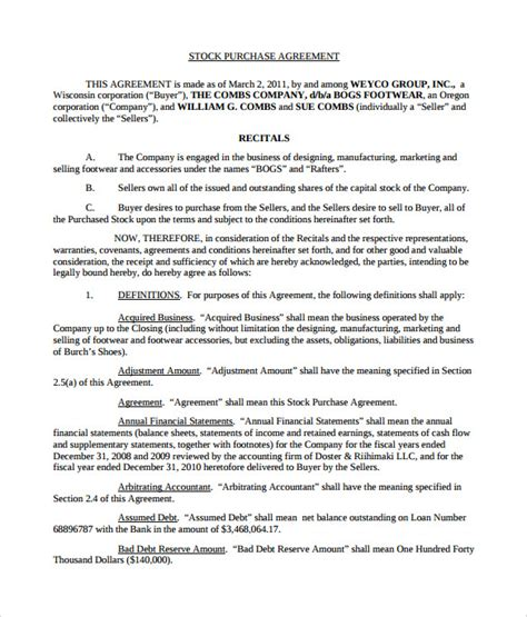 stock purchase agreement templates   ms word