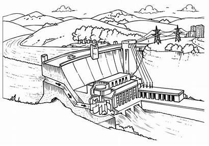 Dam Diagram Line Hydroelectric Drawing Hydropower Energy
