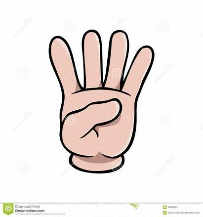 Fingers Cartoon Hand Clip Four Showing Number