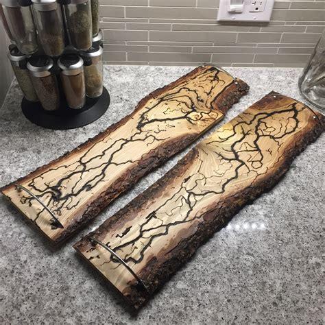 wood burned serving trays burned  electricity