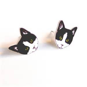 cat earrings cat earrings original illustration kitten studs cat