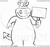 Devil Sign Holding Cartoon Clipart Coloring Outlined Thoman Cory Vector 2021 sketch template