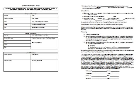 promissory note template templates  microsoft word