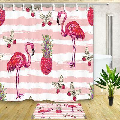pineapple  flamingo shower curtain bedroom decor waterproof fabric  hooks  picclick