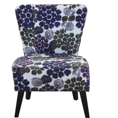fabric accent chair in purple flower c 051 the home depot