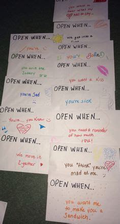 In my open when you need to smile envelope i included a homemade card with a very beautiful and heartfelt poem on it: Open when card ideas. So cute for valentines day or a birthday. | Cute boyfriend gifts, Diy ...