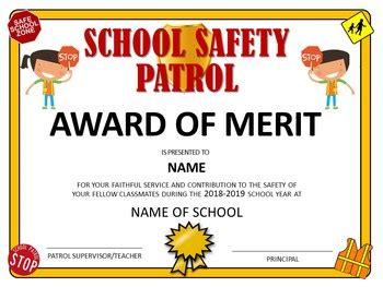 school safety patrol certificate  tech teacher tpt