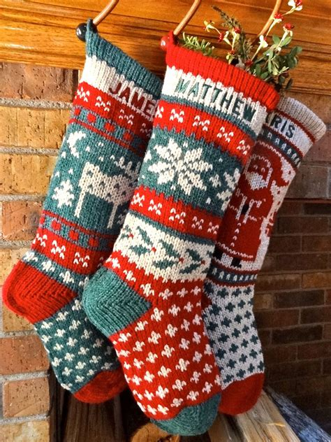 knitted christmas stockings holly snowflake wool