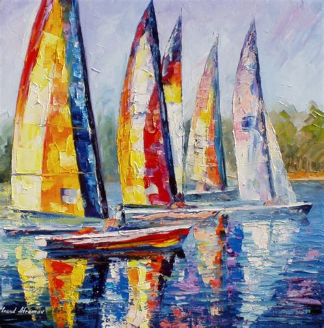 Sailboat Oil Painting by Sailboat Competition Palette Knife Oil Painting On Canvas