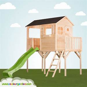 Cabane En Bois Enfant : maisonnette bois toboggan lekingstore maisonnette enfant ~ Dailycaller-alerts.com Idées de Décoration