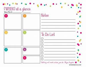organizational printables daily weekly dawn nicole With week at a glance lesson plan template