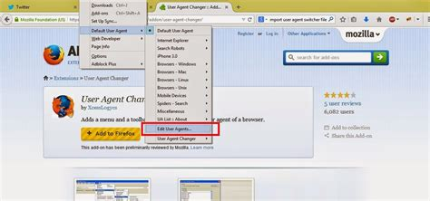 plugin agent user firefox changer xml import steps