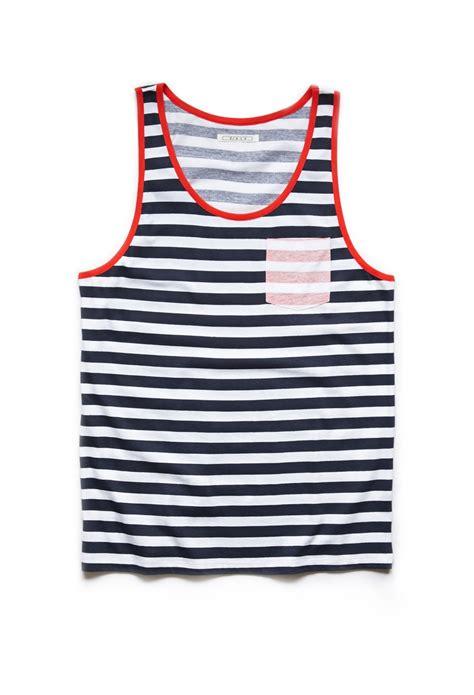 lyst   striped pocket tank top  blue  men