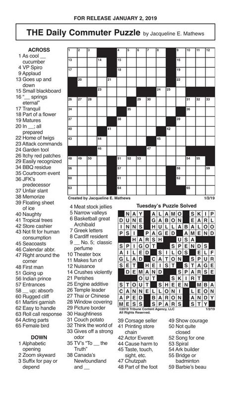 crosswords january   crosswords redandblackcom