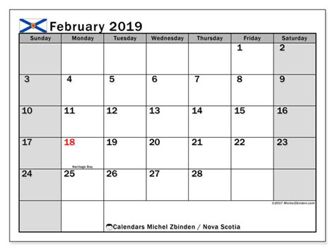 calendars february public holidays canada michel zbinden en