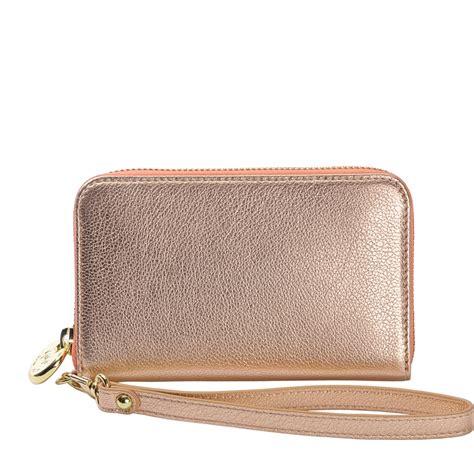 gold wristlet phone wallet metallic goatskin gigi